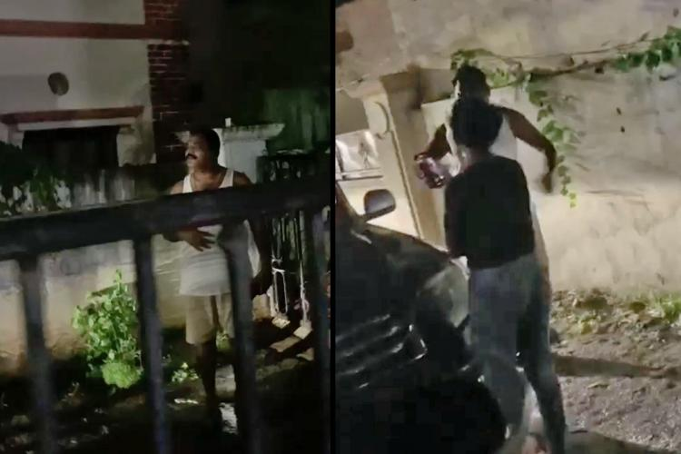 Screenshot of a corporator attacking a young woman over a dispute