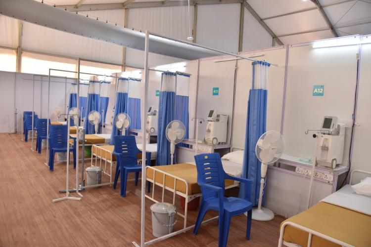 Beds with oxygen concentrators in the COV-AIDBLR Facility at Bengaluru airport