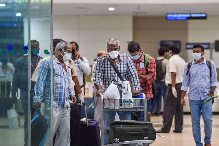 ONGC workers arrive from Kolkata during the COVID19 lockdown at Chennai airport