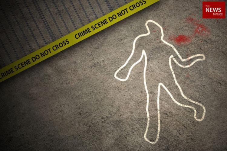 Man killed outline with blood splattered on the side