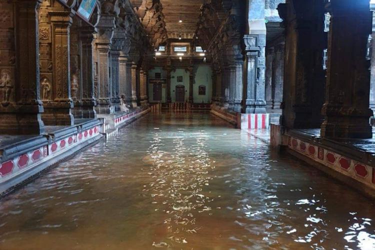 A flooded Nataraja temple in Chidambaram