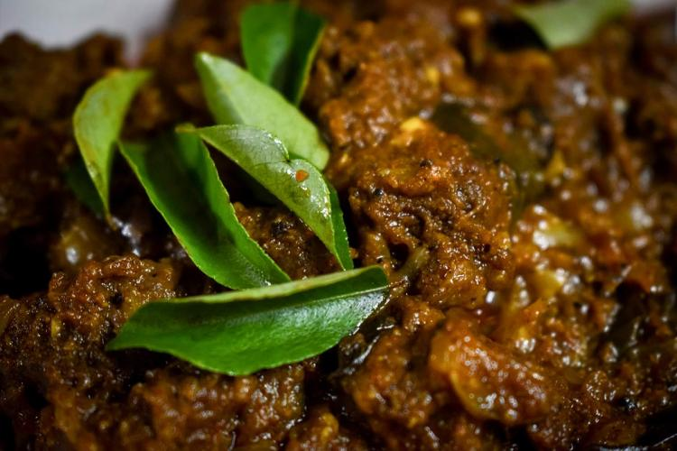 Curry leaves on meat curry