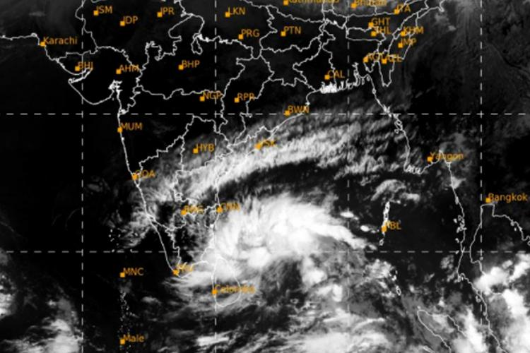 A satellite map issued by Indian Meteorological Department showing the deep depression over Bay of Bengal