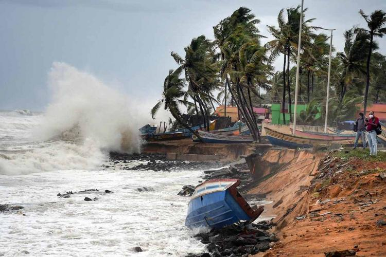 Rough sea weather conditions in Thiruvananthapuram due to formation of Cyclone Tauktae in the Arabian Sea
