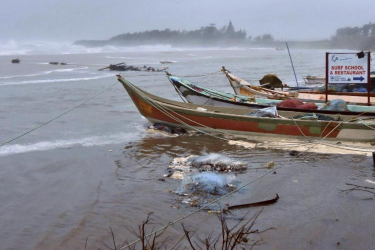 Boats being anchored along Indian coast line ahead of cyclone Tauktae