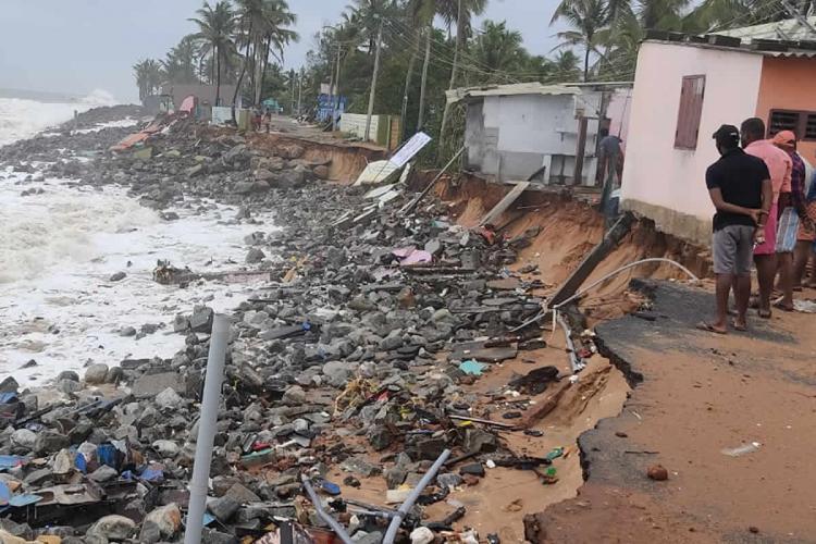 Houses in coastal Thiruvananthapuram damaged in Cyclone Tauktae