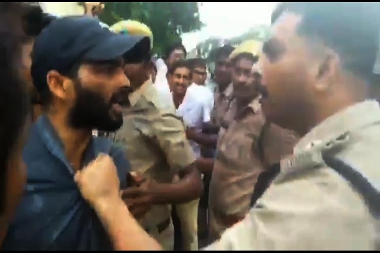 Andhra police officer caught on cam slapping doctor protesting against NMC bill