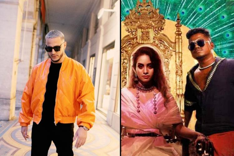 DJ Snake on the left and a screengrab from Enjoy Enjaami on the right
