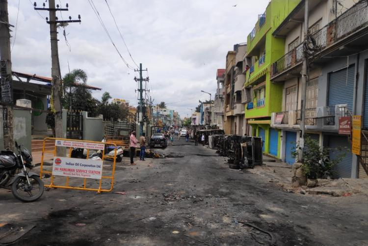 A street in riot hit parts of east Bengaluru post the riot day