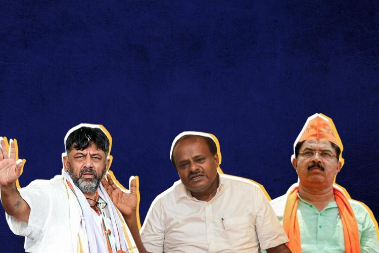 Collage of R Ashoka DK Shivakumar and HD Kumaraswamy