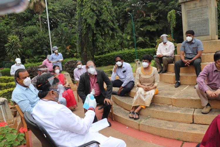DK Shivakumar at Victoria Hospital in Bengaluru on July 15 2020