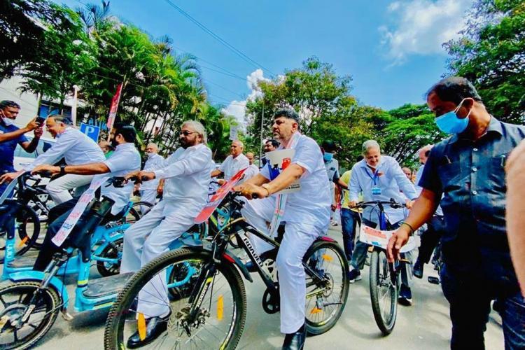 DK Shivakumar riding a bicycle