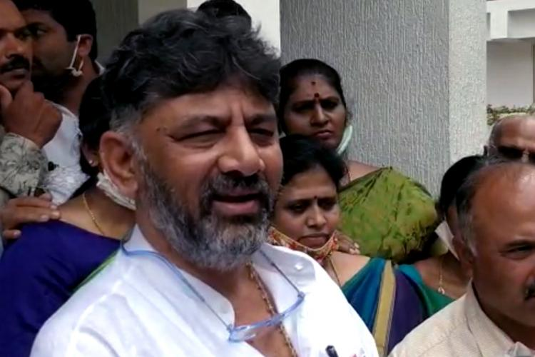 kpcc president d k shivakumar speaking to the press