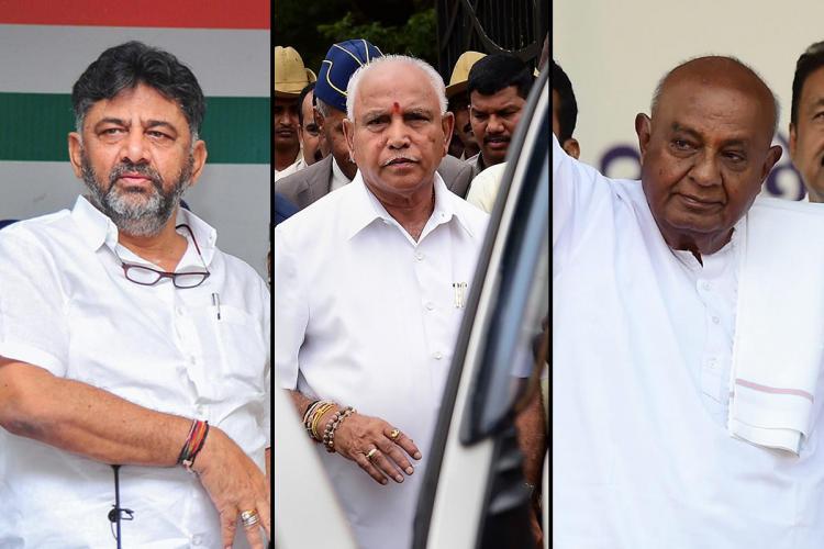 A collage of DK Shivakumar BS Yediyurappa and HD Devegowda all dressed in white