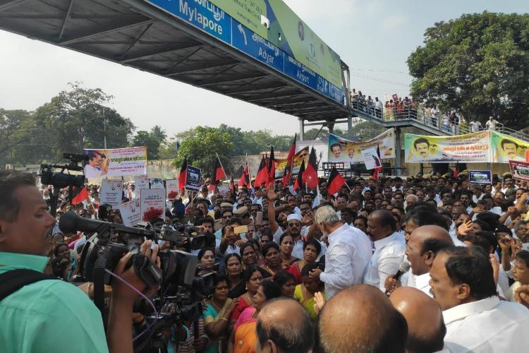 DMK protests outside Raj Bhavan over Governors inaction on Kodanad controversy