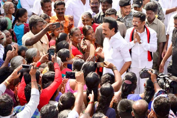 DMK President MK Stalin meets voters while on poll campaign