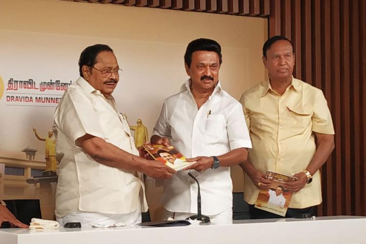 Stalin and Durai Murugan of DMK posing