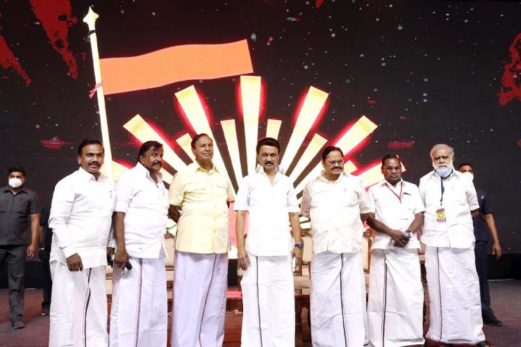 DMK members on stage including Chief MK Stalin after the release of their election manifesto on March 13