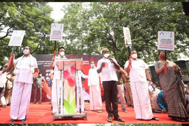 DMK stages protest against TN Governor for delaying his assent to NEET 75 quota bill