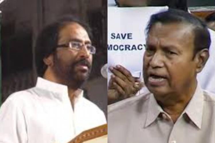 DMK leaders Tiruchy Siva and TR Baalu