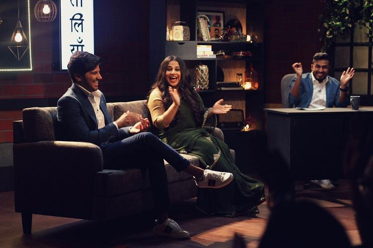 Two men talk about stretch marks Vidya Balan cant stop laughing at Dulquer and Abish