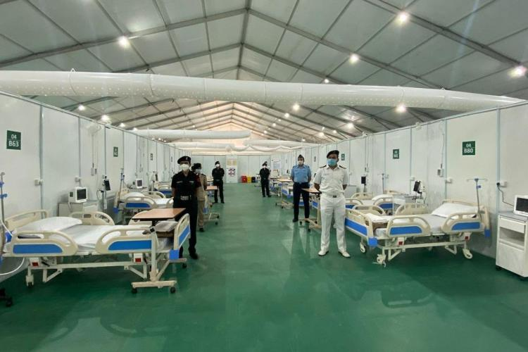A newly constructed hospital in New Delhi to tackle the coronavirus pandemic