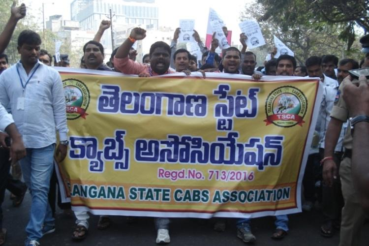 Ground report Hyderabads Ola and Uber drivers hit the streets in anger as earnings drop