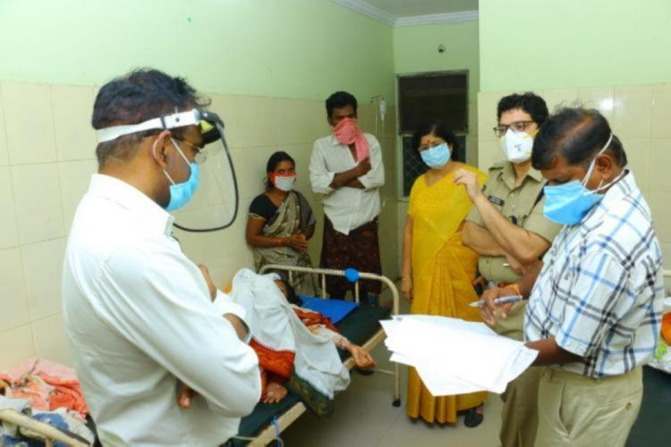 Khammam Police Commissioner and other district officials met the victim in hospital