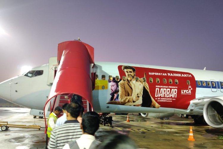 Darbar promos reach the skies Spicejet flies aircraft with Rajini image
