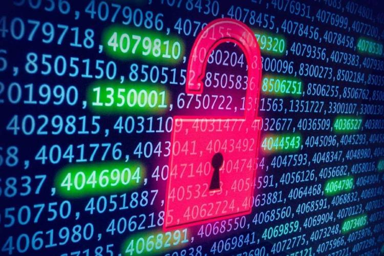 Data security represented by numbers and a lock