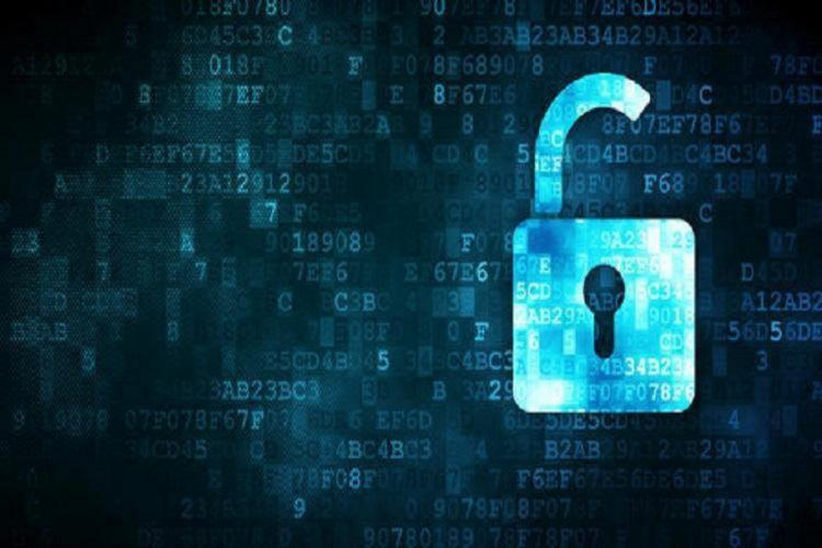 Digital image of a lock unlocked and data scrolling in the background