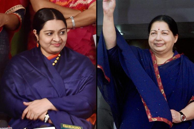 J Deepa left and J Jayalalithaa right