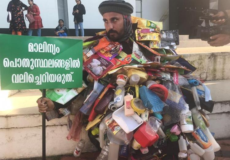 Kerala man walks over 100 kms covered in plastic waste to create awareness on littering