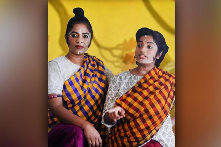 Two actors performing in the play Desdemona Rupakam staged at Ranga Shankara Bengaluru