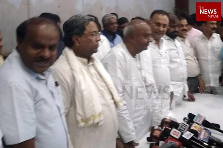 As Ktaka ruling coalition conducts joint press meet BJP asks where is Parameshwara