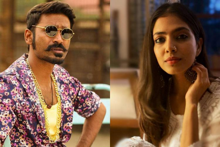 Dhanush wearing shades and a printed shirt on left and Malavika in white with her hand on her neck on right