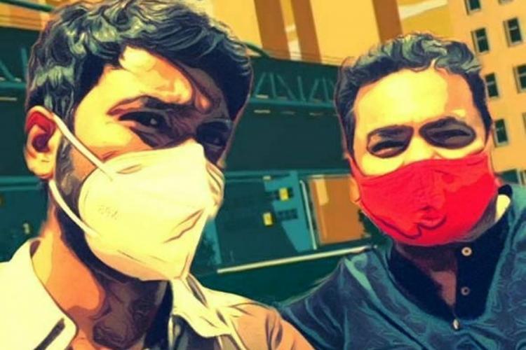 A stylised photo of Dhanush and AR Rahman both wearing masks