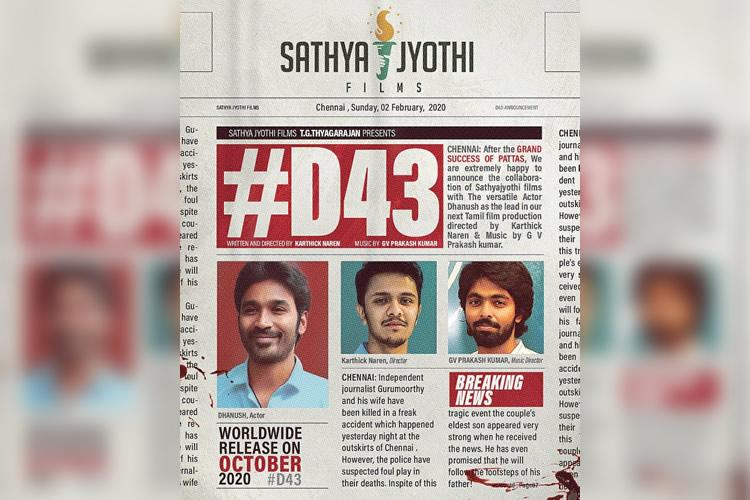 Dhanush to team up with director Karthick Naren