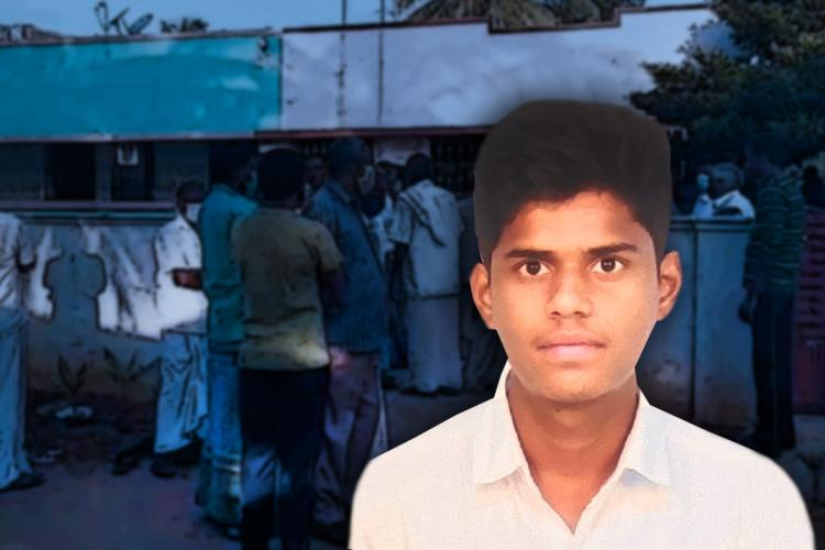 A picture of Dhanush cut out against the posterised background showing the crowd outside his house after his death by suicide.