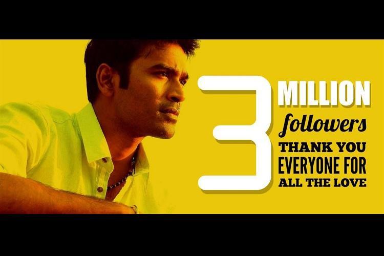 Kolaveri actor Dhanush is feeling the love his Twitter account hits three million followers