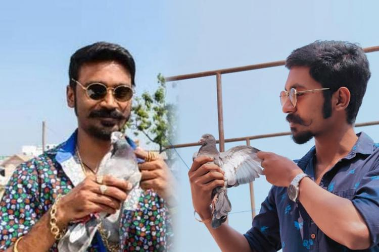 On the left side is actor Dhanush in sunglasses and on the right side is a man posing like him for dupe challenge