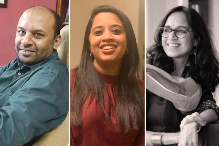A collage of Pratik Sinha of Alt News Dhanya Rajendran of The News Minute and Ritu Kapur of The Quint