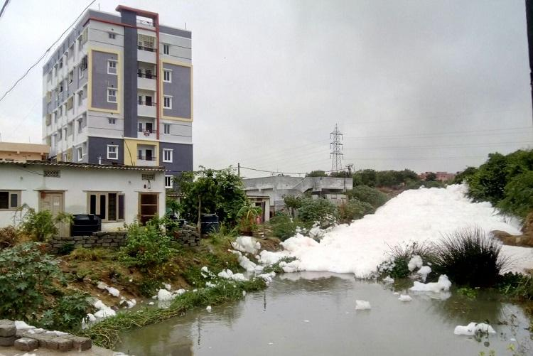 Hyds Dharani Nagar nala spews froth again residents spend sleepless night
