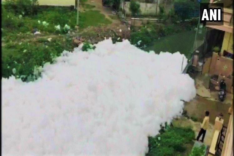 Hyderabad drain froths again spills toxic foam into houses at Dharani Nagar