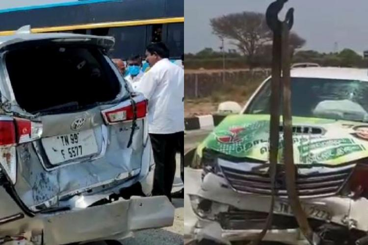 The damages to the convoy of Tamil Nadu Minister Velumani and Speaker Dhanapal in an accident at Dharapuram