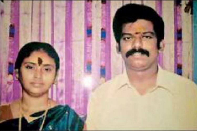 Flower vendor Dharmalingan and his wife Meenakshi who died of poisoning Dharmalingan is wearing a white shirt and Meenakshi is in a dark blue saree