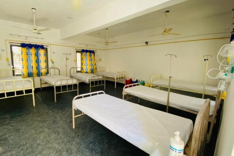 Beds in a crowdfunded Covid hospital in Dharmavaram