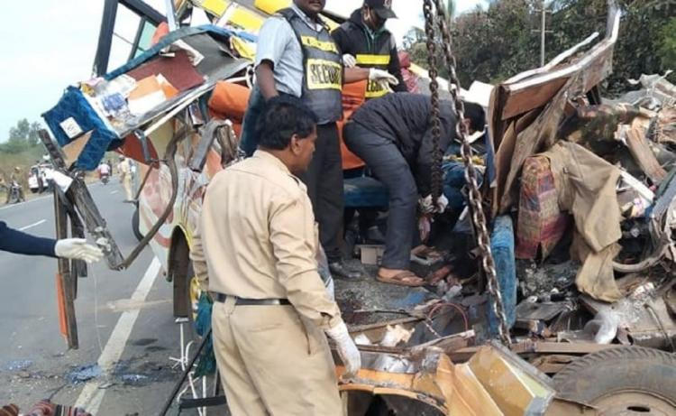 Remains of the minibus which was damaged severely in a road accident that killed 11 people