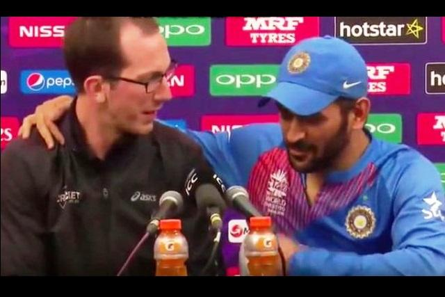 Video Dhoni lost the match but won the Internet with his hilarious chat with journalist