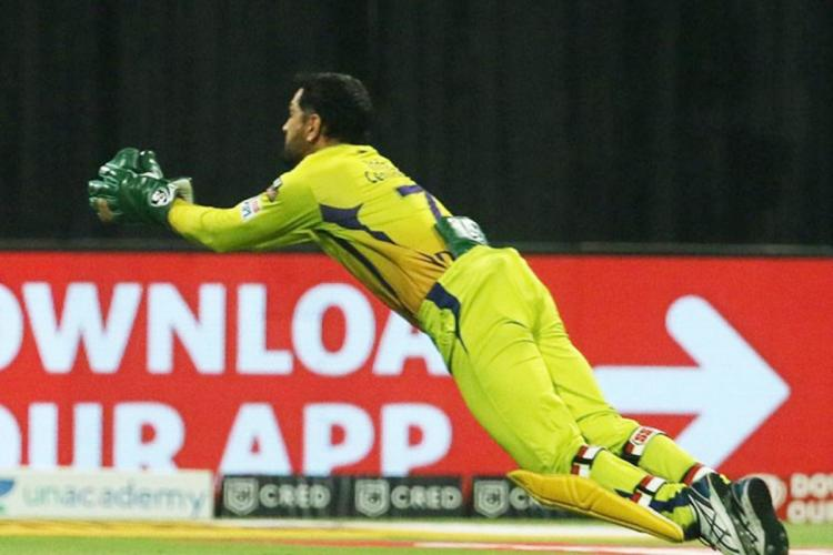 Gloves off MS Dhoni takes spectacular catch breaks IPL record
